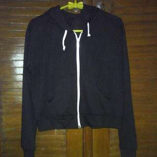 Sweater Hoodie Crop Black