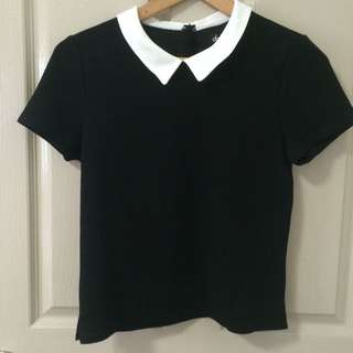 Black Textured Top with White Collar