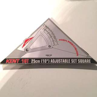 Kent Adjustable Set Squares 10T 25cm