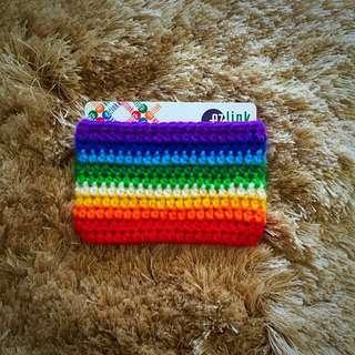 Rainbow crochet card holder