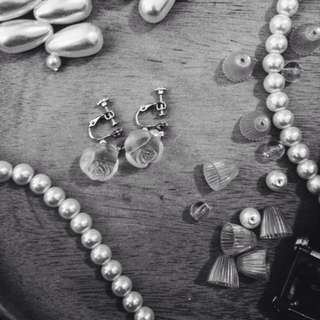 Sand Washed Rose Bud Earrings