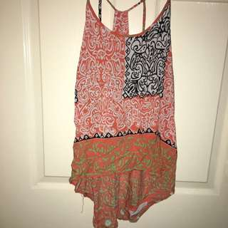 Orange Patterned Top Sz12