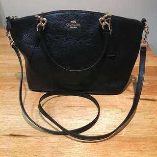 Coach Black Pebbled Leather Small Kelsey Satchel