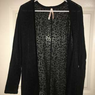 Black Seethrough Cheetah Cardigan Sz10
