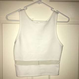 White Mesh Crop Top Sz6