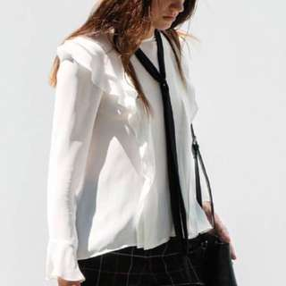 NEW CUE White Frill Tie Neck Shirt