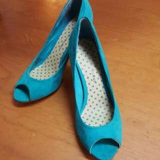 英國Dorothy Perkins 湖水綠絨面高踭鞋 UK6 EU39