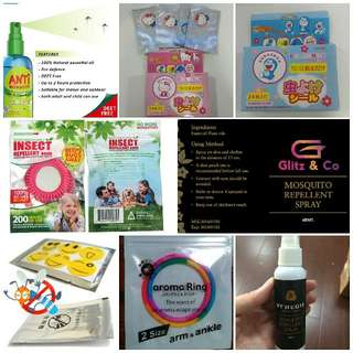 Ready Stock Against Zika/Dengue Anti Zika Mosquito Repellant Spray, Sticker Patch Patches & Bracelet Band For Baby And Adult. Deet-Free Natural Oil Zikas Aedes