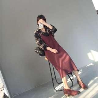 *預*『秋色』針織吊帶背心裙多層次穿搭必備洋裝百搭