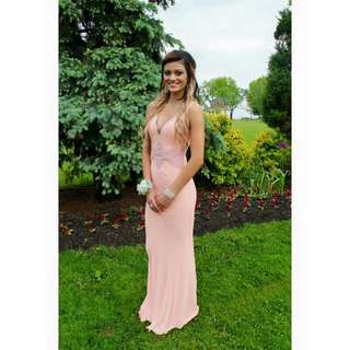 Prom Dress Size 2. Light pink with sequins.