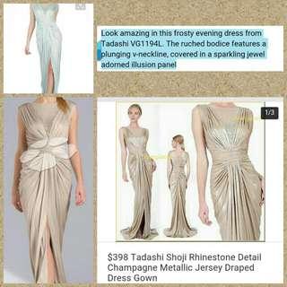 Tadashi Shoji Rhinestone detailed Champagne Metallic Jersey Gown