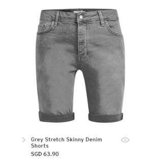 Topman Grey Sretch Skinny Denim Shorts