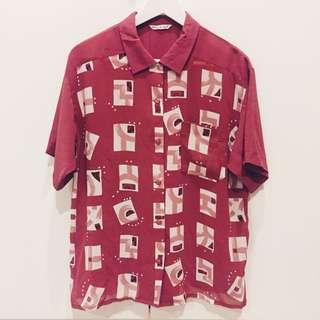 含運.紅色幾何圖形古著短袖襯衫