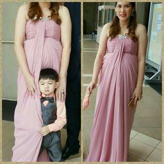 by Loretto Old Rose Preggy Long Gown with Rhinestone (tailored for 6month tummy)