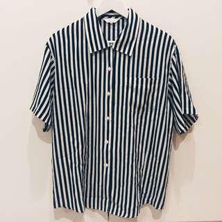 含運.黑色直線條簡約短袖古著日本襯衫