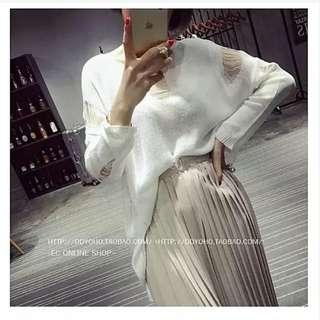 寬鬆簍空破洞純白長袖針織衫