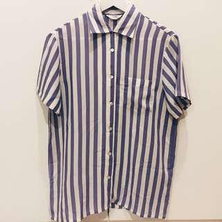 含運.紫色直條紋簡約日本短袖古著襯衫