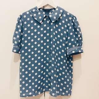 含運.天空藍點點圓領日本夏季短袖古著襯衫
