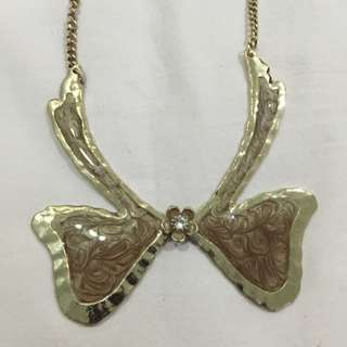 Brown Ribbon Necklace
