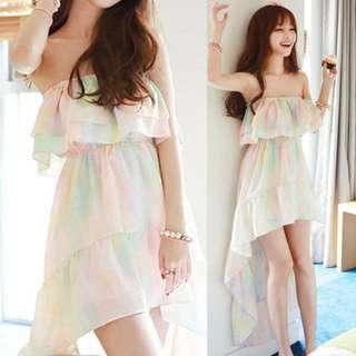夏裝新款仙女彩虹沙灘裙波西米亞洋裝連身裙顯瘦雪紡度假長裙