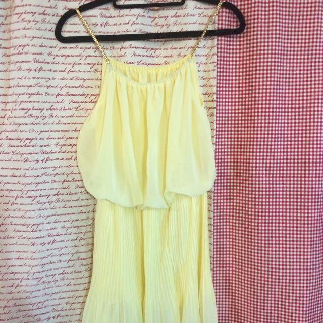 亮眼黃性感洋裝