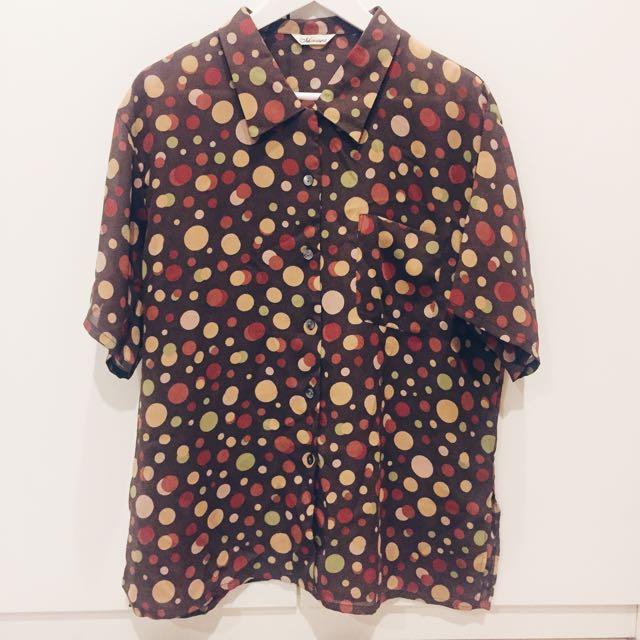 含運.土黃色多色點點短袖古著襯衫