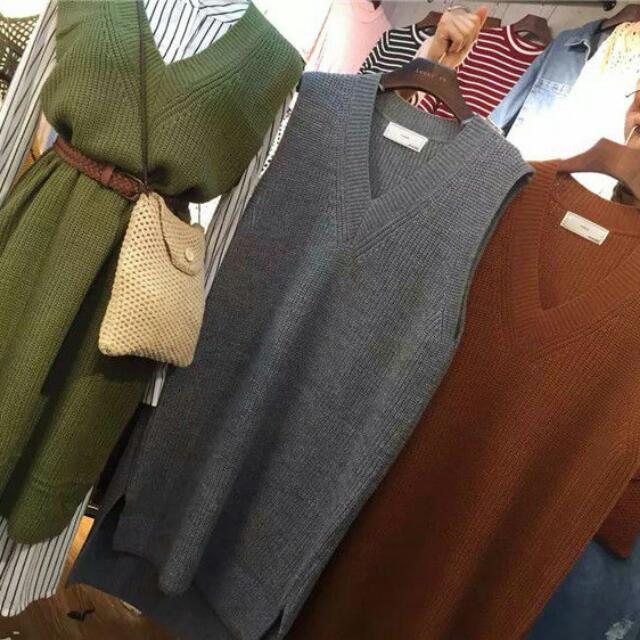 韓國針織背心裙