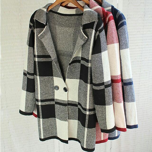 韓格子毛衣外套