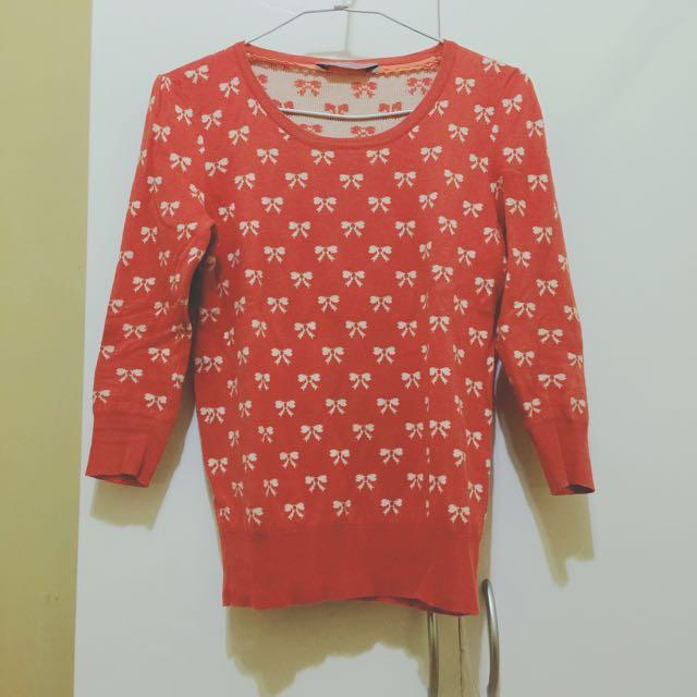 🇬🇧英國品牌ASOS甜美針織上衣 橘色 五分袖 Eur36
