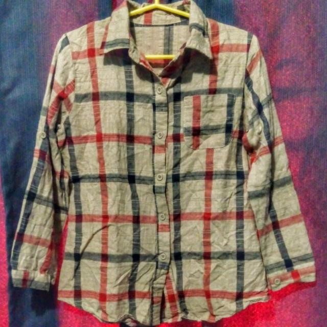 Beige Checkered Long Sleeves (button Down)