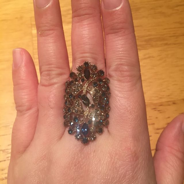 Big Blue And White CZ Diamond Ring Rose Gold Colour