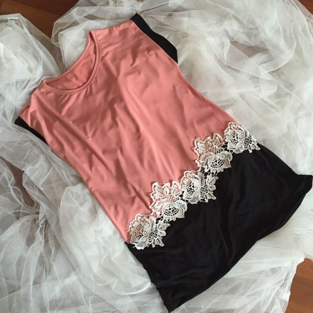 Black & Peach Square Dress