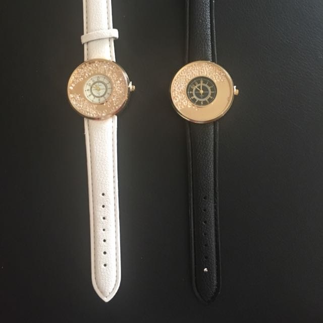 Black And White Geneva With Crystal Watches
