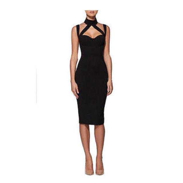 Black Cross Neck Dress
