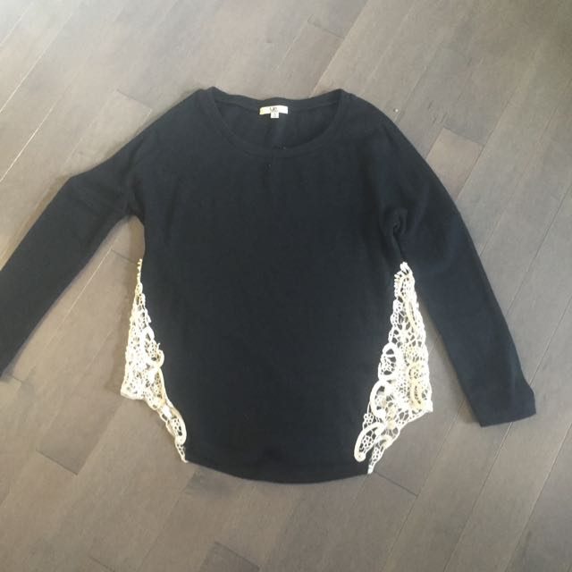 Black Sweater With Lace Sides