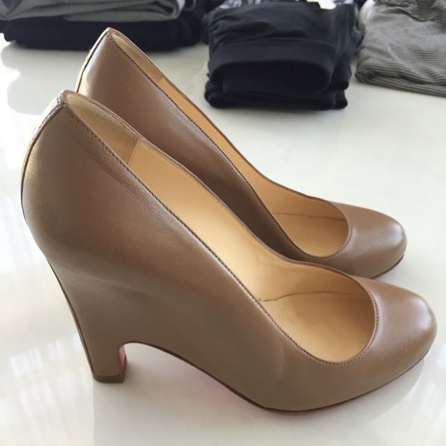 Christian Louboutin 'Morphing Wedge' Pumps In Nude Size 35.5