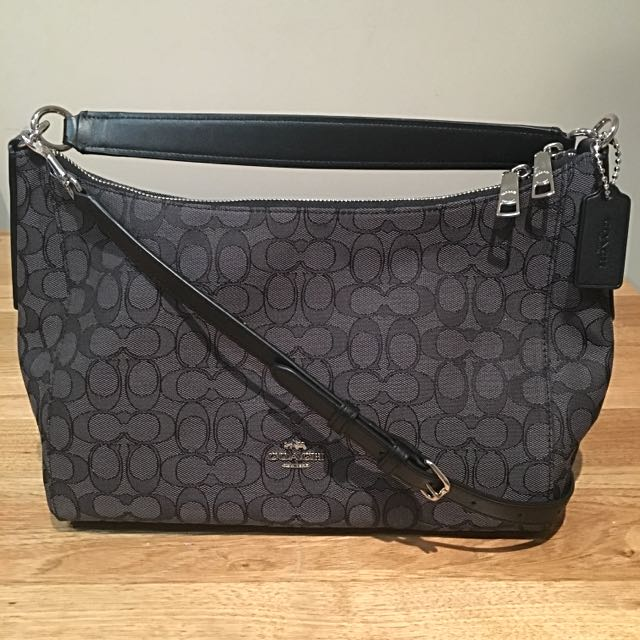 Coach F54936 East West Celeste Convertible Hobo In Smoke Black