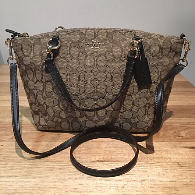 Coach Outline Signature J Kelsey Satchel In Khaki/Brown