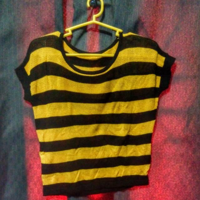Crocheted Shirt In Black And Yellow Stripes