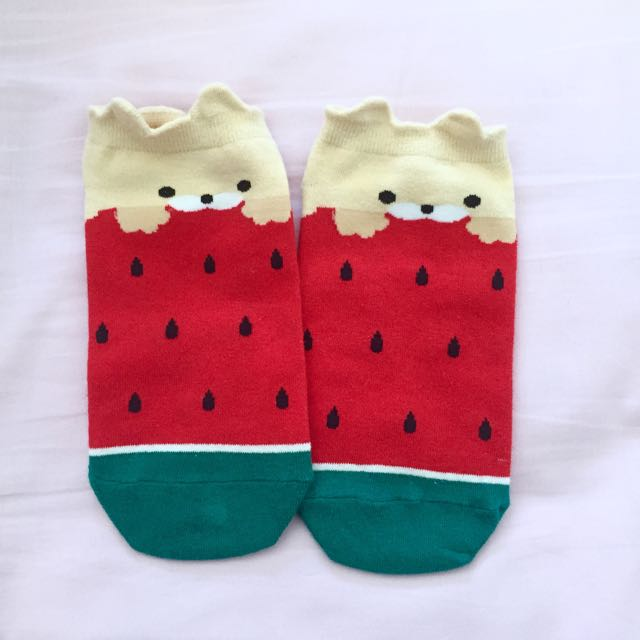Doggy Watermelon Ankle Socks