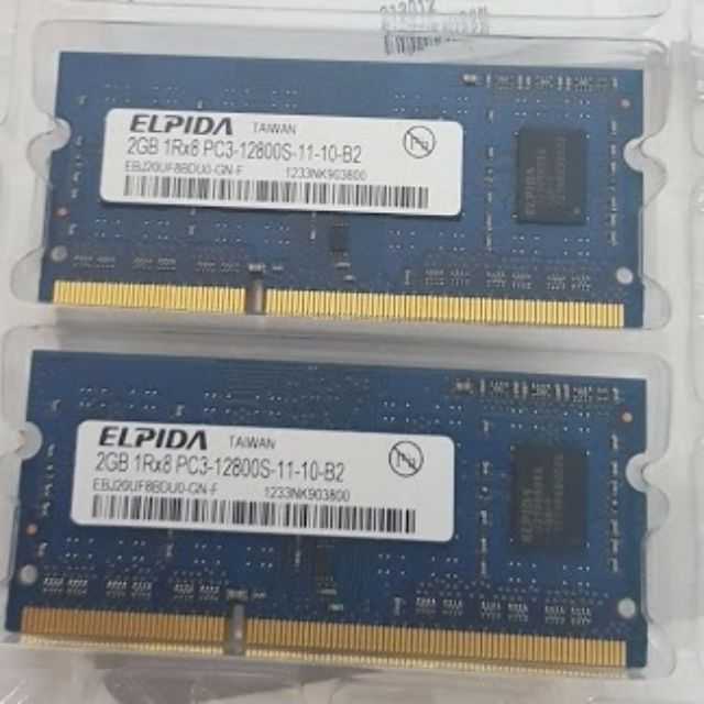 Elpida 4 GB (2 x 2GB) 1Rx8 PC3-12800S-11-10-B2 DDR3 Laptop Memory