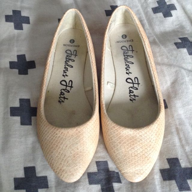 Emerson Cream Snakeskin Look Shoes