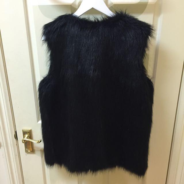Fake Fur Black Vest