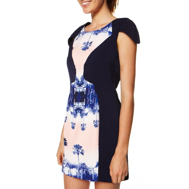 Finder's Keepers Navy Print Cut-out Dress