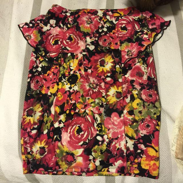 Floral Peplum Pencil Skirt - Size 8