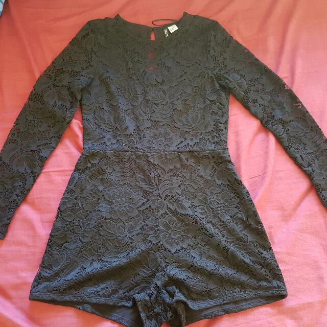 H&M Black Lace Playsuit Size 10