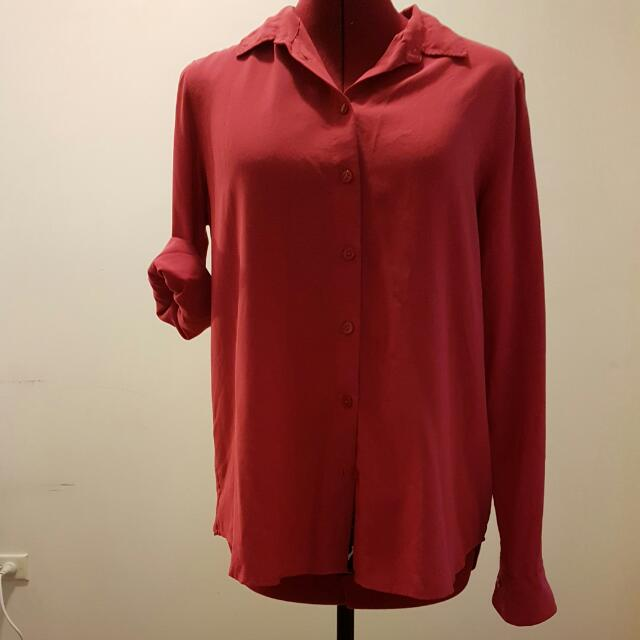 Hot Pink UniQlo Work Shirt