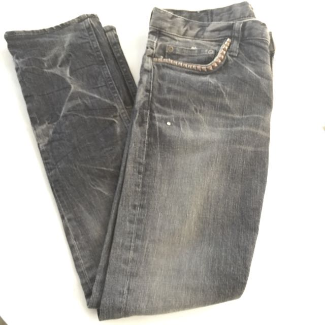 Hysteric Glamour Japan (Sz.XS or 27 inch) Studded Distressed Grey Black Denim Jeans