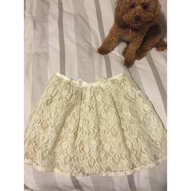 Lace White Skater Skirt - Size S