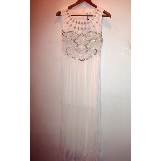 LC designers Chiffon & Embroidery Long White